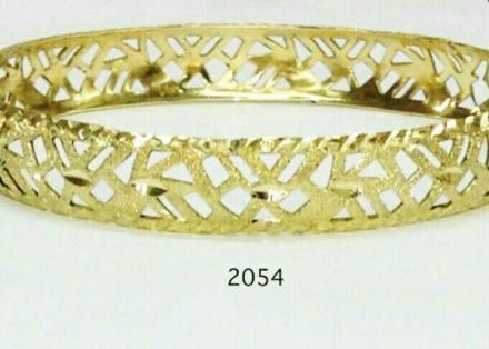 צמיד זהב 14K מרוקאי תחרה משולב חריטת יהלום ונצנץ בעבודת יד (2054)