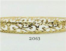 צמיד זהב 14K שמיניות מרוקאי ממולא חריטת יהלום על רקע מבריק (2063)
