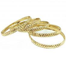 צמיד זהב 14K בצורה של קוביות בחריטת יהלום על רקע נצנץ בעבודת יד (2099)