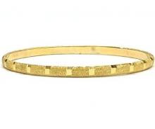 צמיד זהב 14K דק ממולא נצנץ בשילוב פסי מראה בעבודת יד (2097)