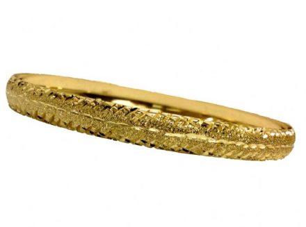 צמיד זהב 14K משולב נצנץ וחריטת יהלום איקסים בצדדים בעבודת יד (2001)