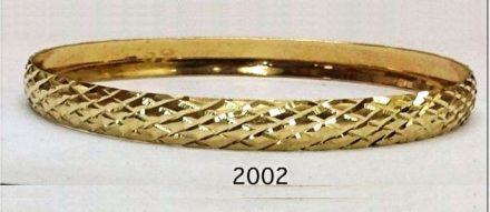 צמיד זהב 14K בצורה של מעוינים ממולא חריטת יהלום על רקע מבריק הכל בעבודת יד (2002)