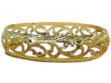 צמיד זהב 14K מרוקאי תחרה בומביי מקושט שמיניות עם נצנץ וקנטים בחריטת יהלום (2050)