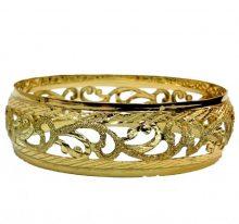 צמיד זהב 14K מרוקאי תחרה בומביי מקושט שמיניות בשילוב חריטות יהלום וקנטים (2055)