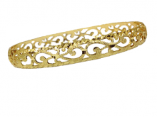 צמיד זהב 14K שמיניות מרוקאי משולב חריטת יהלום על רקע נצנץ (2061)