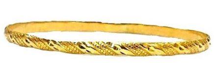 צמיד זהב 14K דק משולב חריטות אלכסונים מקוטע מבריק הכל בעבודת יד (2084)