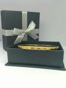"""צמיד זהב רוחב 5 מ""""מ חצי עגול מלא, מט אלגנט עם פיזור כוכבים נוצצים בחיתוך יהלום (2093)"""